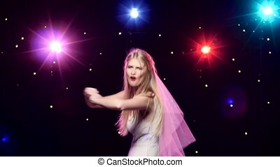 Bachelorette party bride dancing and having fun -...