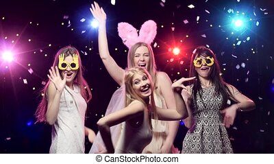 Girls at bachelorette party dancing and having fun - Girls...