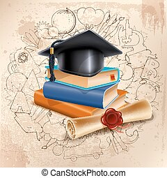 School concept - Black graduation cap on stack of books and...