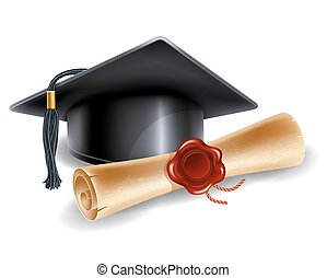 School concept - Black graduation cap and diploma isolated...