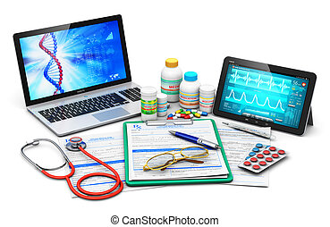 Medical supplies, prescription forms and computer diagnostics
