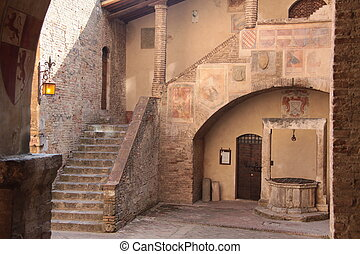Old House in San Gimignano in Tuscany, Italy