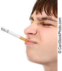 Teenager with Cigarette - Displeased Teenager with Cigarette...