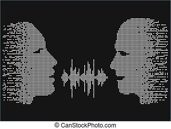Vector illustration of two people talk face to face. Pixel...