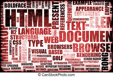 HTML - Red HTML Script as an Education Background