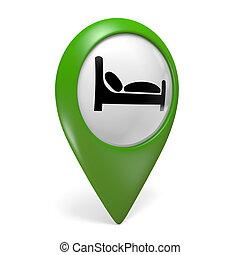 Green hotel map pointer icon - Green map pointer icon with a...