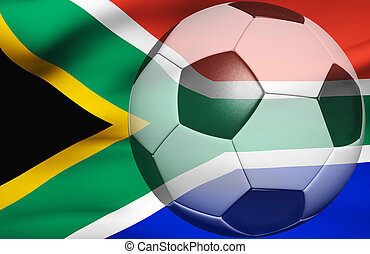 Soccer ball over the south africa flag 3d render