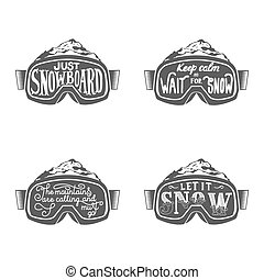 Handdrawn vintage snowboarding quotes - Set of snowboarding...