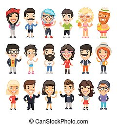 Casually Dressed Flat Characters - Big set of 18 casually...