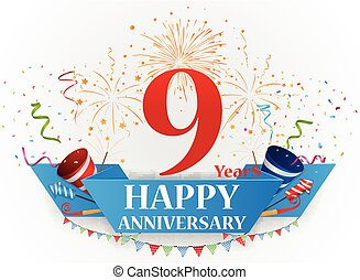 Vector Illustration of Happy Anniversary celebration with fireworks and confetti