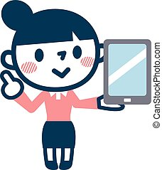 Young woman and a liquid crystal tablet - Vector...