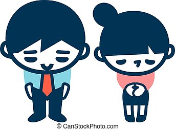 office workers, polite bow - Vector illustration.Original...