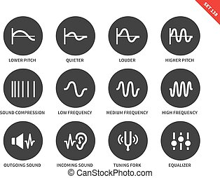Sound waves icons on white background. Vector illustration.