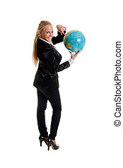 businesswoman holding globe in hand