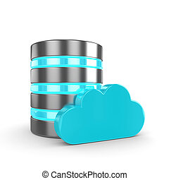 Database 3d with cloud isolated on white