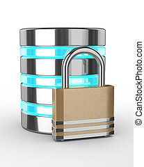 Database 3d with closed padlock isolated on white background...