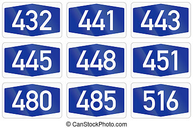 Collection of Numbered highway shields of German Autobahn...