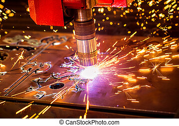 CNC Laser cutting of metal, modern industrial technology....
