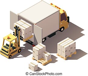 Vector isometric forklift loading box truck with crates on...