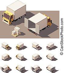 Vector isometric box truck icon set - Vector Isometric icon...