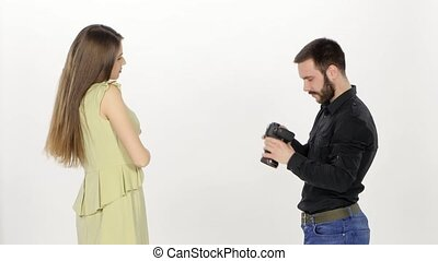 Shooting in the studio Model and photographer White - Model...