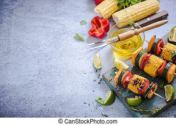 barbecued vegetables skewers - ingredients for healthy bbq...