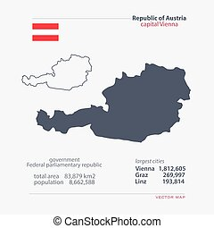 austria - Republic of Austria isolated maps and official...