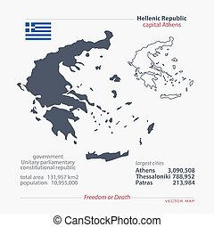 greece - Hellenic Republic isolated maps and official flag...