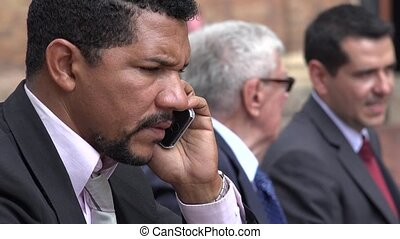 Stressed Business Man Talking On Phone