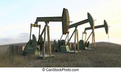 Oil wells seamless loop - oil pumps on meadow-3D render -...