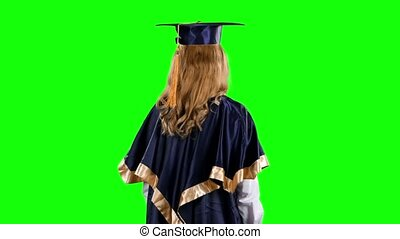 Graduate. Green screen - Portrait of female graduate...