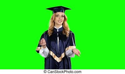 Student graduate isolated confident talking interview. Green...