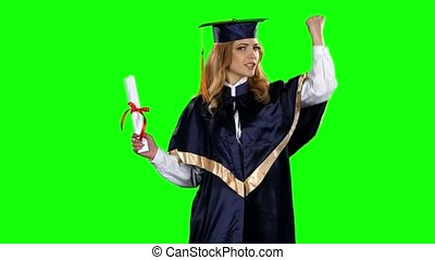 Dancing graduate. Green screen - Happy graduate girl,...