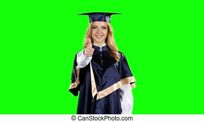 Graduate with a thumbs up sign Green screen - Graduate with...