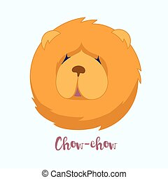 Vector dog Chow-chow icon flat design.Dog characters....