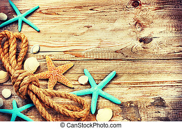 Summer holiday background with seashells and old rope