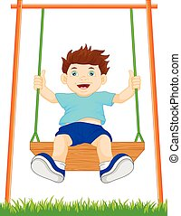 boy on swing in the park - vector illustration of boy on...