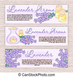vector hand drawn banner with lavender and oil burner