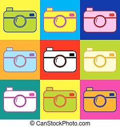 Digital photo camera icon. Pop-art style colorful icons set...