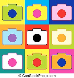 Digital camera icon. Pop-art style colorful icons set with 3...