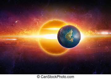Earth-like planet in deep space - Abstract scientific...
