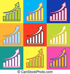 Growing graph sign. Pop-art style colorful icons set with 3...