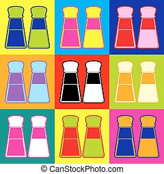 Salt and pepper sign. Pop-art style colorful icons set with...