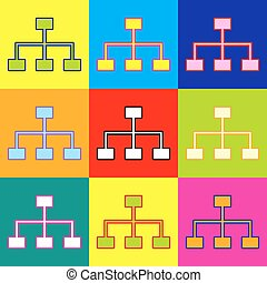 Site map sign. Pop-art style colorful icons set with 3...