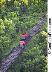 Pittsburgh Incline - two cars going up and down on the track...