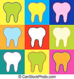Tooth sign. Pop-art style colorful icons set with 3 colors.