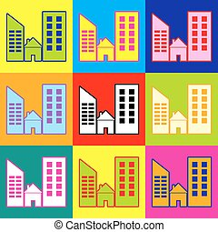 Real estate sign. Pop-art style colorful icons set with 3...