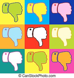Hand sign. Pop-art style colorful icons set with 3 colors.