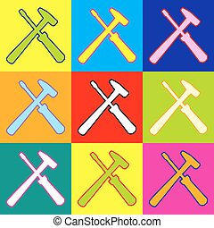 Tools sign. Pop-art style colorful icons set with 3 colors.
