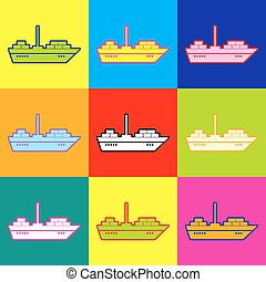 Ship sign Pop-art style colorful icons set with 3 colors